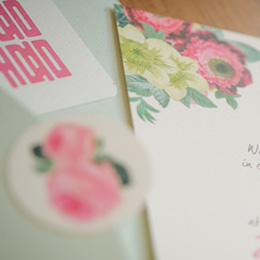 Shabby Chic Peonies with matte(mint) and matte(wheat) envelope
